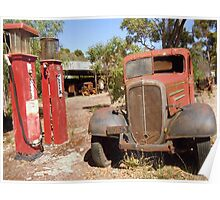 Old Petrol Pumps and Car Poster