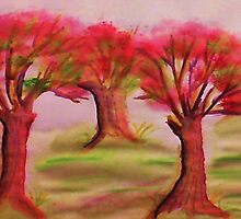 3 nice big trees , probly Oak, in watercolor by Anna  Lewis, blind artist