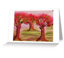 3 nice big trees , probly Oak, in watercolor Greeting Card