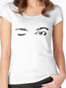 Pretty Pink Winking Eyes Women's Fitted Scoop T-Shirt
