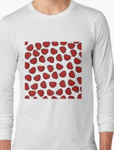 Cute Hand Drawn Red Fruity Apples Pattern Long Sleeve T-Shirt