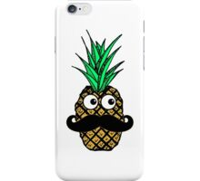 Funny Tropical Pineapple with Googly Eyes Mustache iPhone Case/Skin