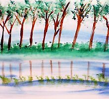 10 trees lined up along the river bank in reflection , in watercolor by Anna  Lewis, blind artist