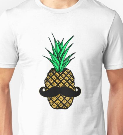 Funny Tropical Pineapple with Mustache Unisex T-Shirt