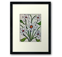 Bouquet of white flowers in watercolor Framed Print