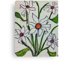 Bouquet of white flowers in watercolor Canvas Print