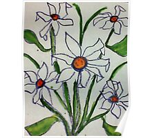 Bouquet of white flowers in watercolor Poster