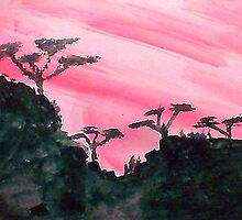 Africa series of pink sunset with trees on hill in black , watercolor by Anna  Lewis, blind artist