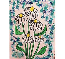 Vintage look with white daisey  in watercolor  Photographic Print