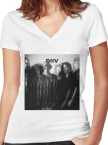 DIIV Band Photo 2 Women's Fitted V-Neck T-Shirt