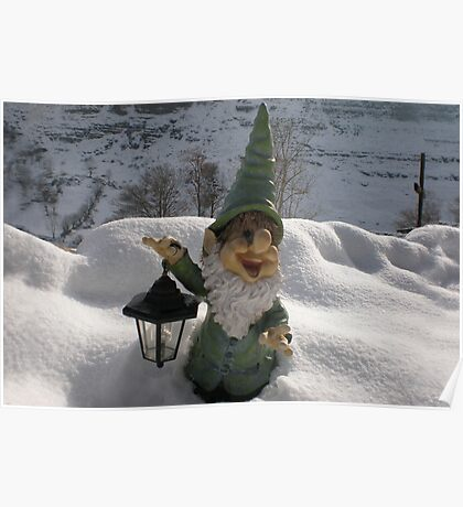 Gnome in the Snow Poster