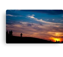 Sunset Cycling Sillhouettes Canvas Print