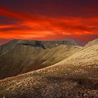 BLENCATHRA WINTER SUNSET LAKE DISTRICT by Phil  WEBB