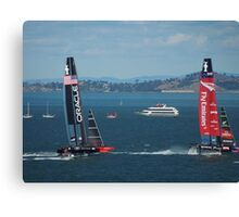 The America's Cup was a close race..... Canvas Print