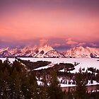Alpenglow Over the Teton Mountains by cavaroc