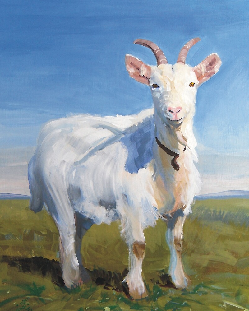 It's Just Me - Quirky Painting of a White Goat by MikeJory