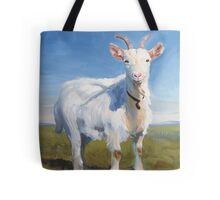 It's Just Me - Quirky Painting of a White Goat Tote Bag