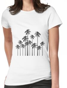 Black and White Exotic Tropical Palm Trees Womens Fitted T-Shirt