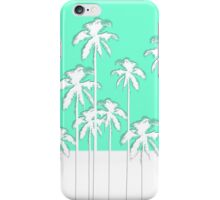 Summer Aqua Teal & White Tropical Palm Trees iPhone Case/Skin