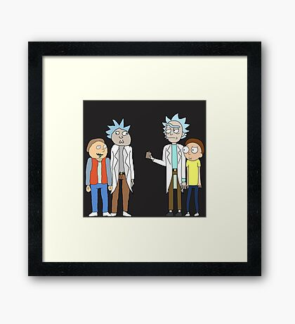 Doc and Mharti and Rick and Morty Framed Print