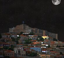 The Scream World Tour Molyvos Lesvos Greece Moonlight by Eric Kempson