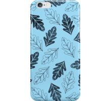 Navy and Pastel Blue Fall Leaves Pattern iPhone Case/Skin