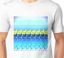 Cute Yellow Ducky on Blue Gradient Water Unisex T-Shirt