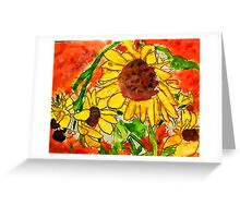 Crazy Daisey having a Hard Day, watercolor Greeting Card