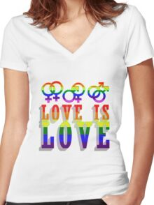 LGBT - Love is Love Women's Fitted V-Neck T-Shirt