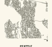 Seattle Washington Map by ScribbledCity