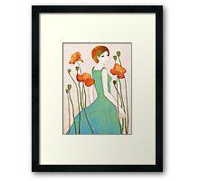 girl and poppy Framed Print
