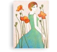 girl and poppy Metal Print