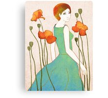 girl and poppy Canvas Print