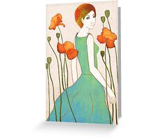 girl and poppy Greeting Card