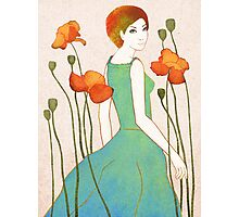 girl and poppy Photographic Print