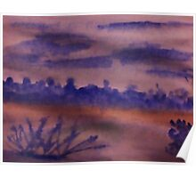 Desert Scene with Mountains in backround at dusk, watercolor Poster