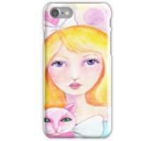 Blonde Girl with Pink Cat iPhone Case/Skin