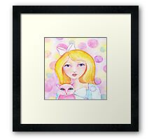 Blonde Girl with Pink Cat Framed Print