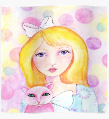 Blonde Girl with Pink Cat Poster