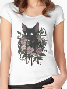 Dark Floral Feline Women's Fitted Scoop T-Shirt