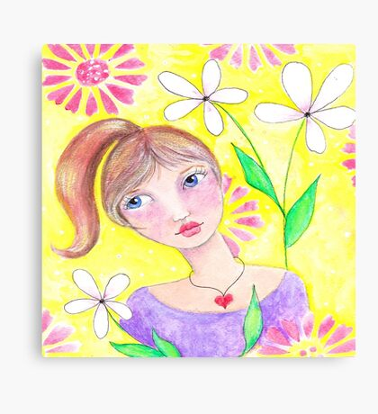 Whimiscal girl with pony tail Canvas Print