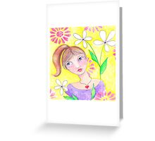 Whimiscal girl with pony tail Greeting Card