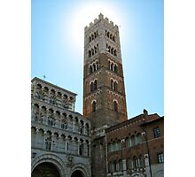 Sun Hiding Behind Tower - Lucca, Italy Photographic Print