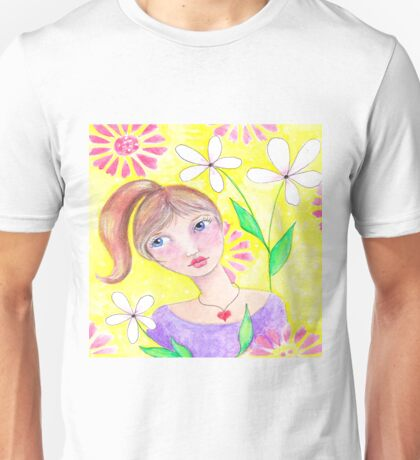 Whimiscal girl with pony tail Unisex T-Shirt