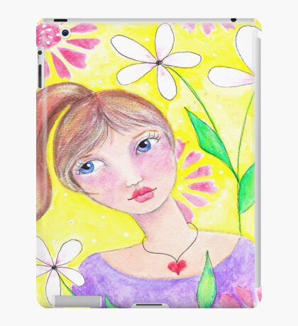 Whimiscal girl with pony tail iPad Case/Skin