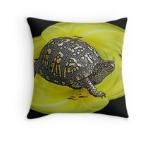 Box Turtle on Lily Throw Pillow