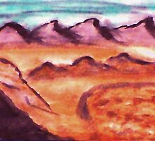 Desert with mountains and valley, watercolor by Anna  Lewis