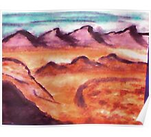 Desert with mountains and valley, watercolor Poster