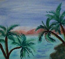 Enjoying sunset thru palm trees from palm tree series, watercolor by Anna  Lewis
