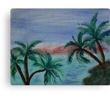 Enjoying sunset thru palm trees from palm tree series, watercolor Canvas Print
